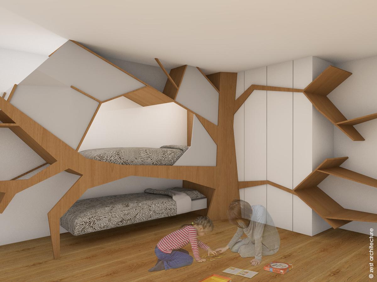 Zest Architecture La Rochelle Loft architecture d'intérieur aménagement chambre arbre bois