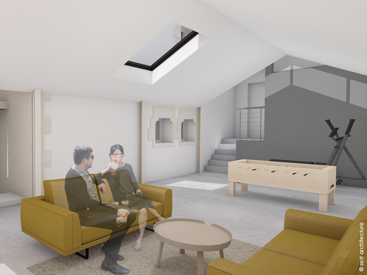 Extension zinc et terrasse bois Zest Architecture