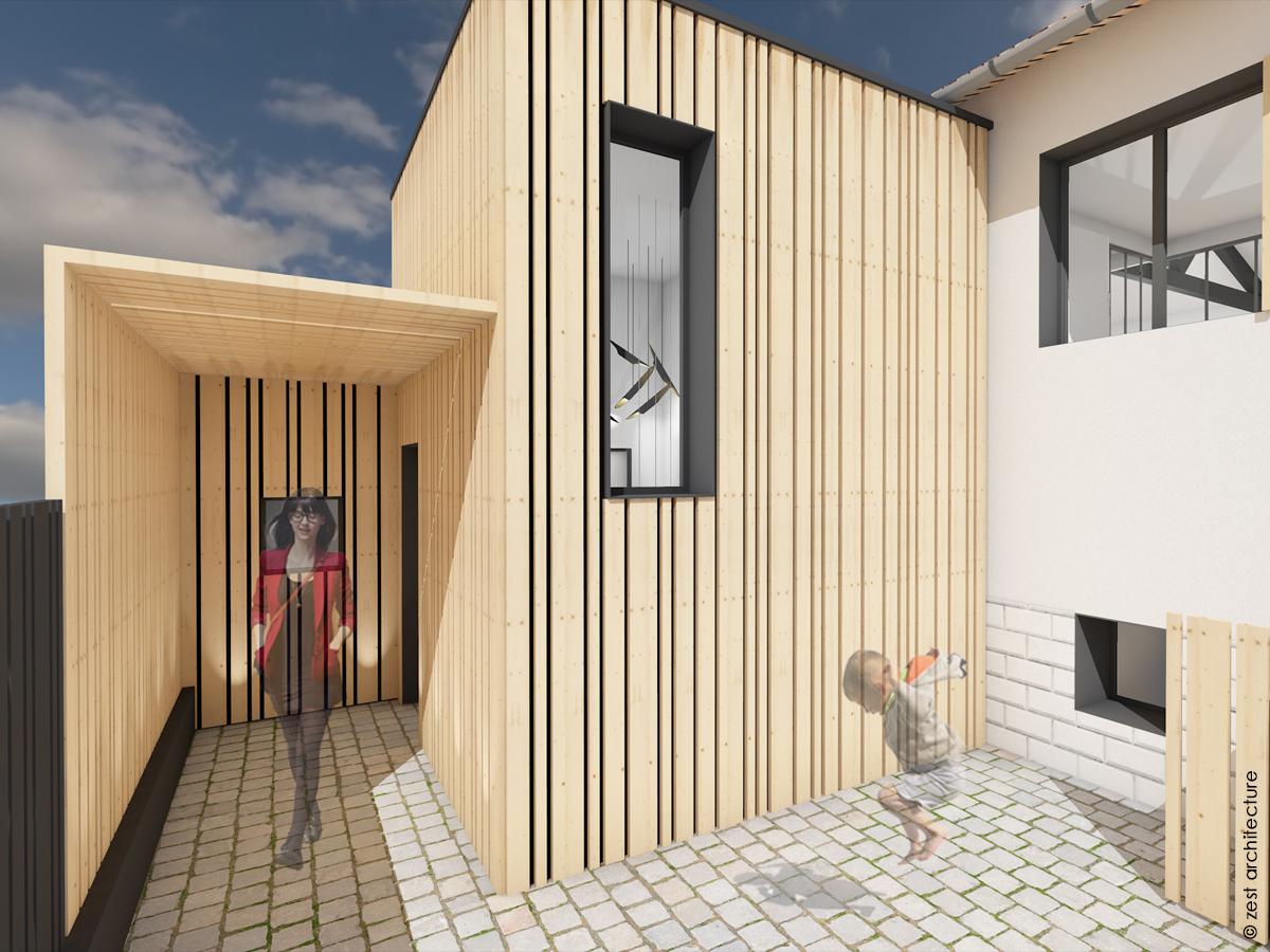 extension bardage bois porche