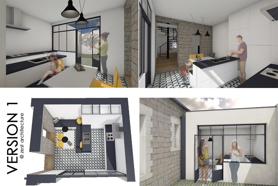 etude de reconstruction d 39 un volume cuisine la rochelle 17 zest architecture c line. Black Bedroom Furniture Sets. Home Design Ideas