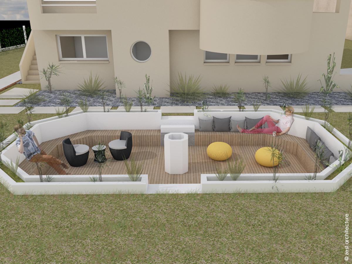 terrasse semi enterrée