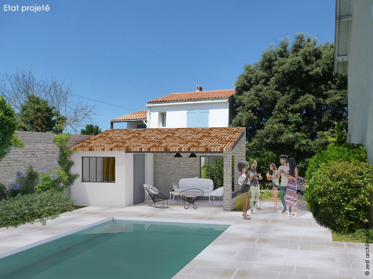 préau, salon d'été et piscine architecte