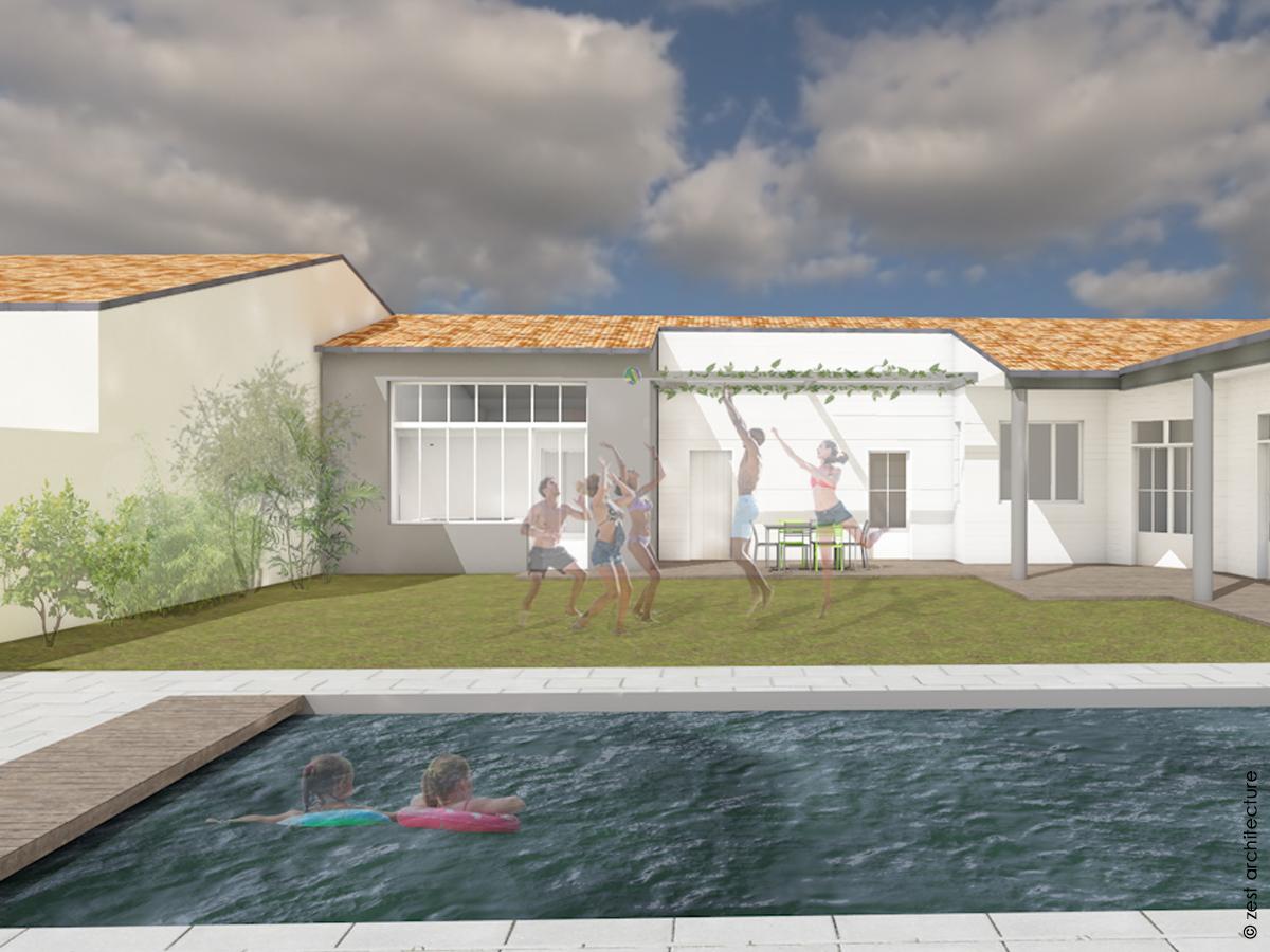 extension enduit gris piscine