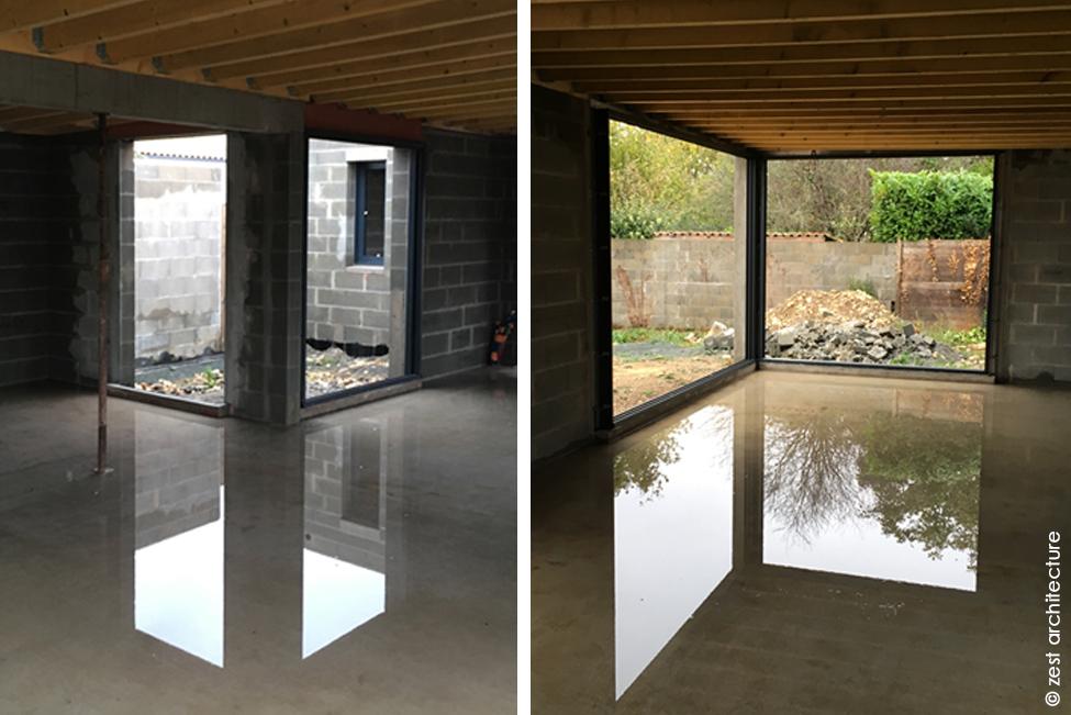 Zest Architecte maison minimaliste La Rochelle miroir d'eau