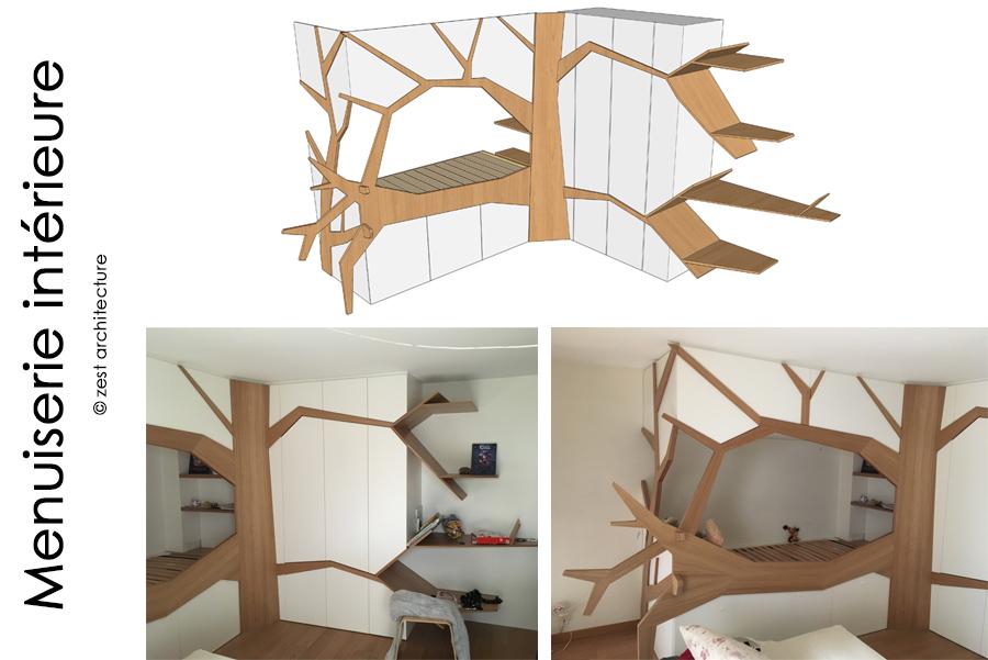 Zest Architecture La Rochelle menuiserie intérieure bois arbre